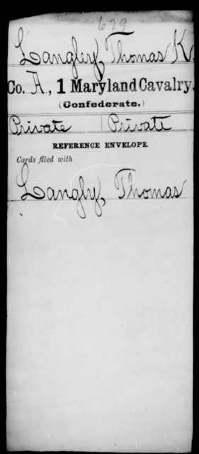 Langley, Thomas K - Age [Blank], Year: [Blank] - First Cavalry, H-Ll - Maryland