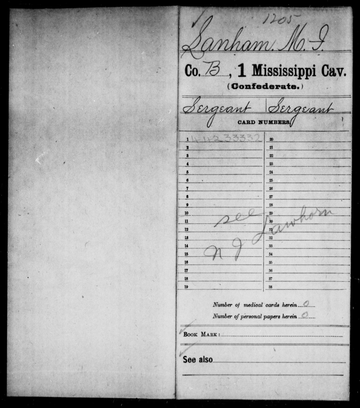 Lanham, M I - Age: [Blank], Year: [BLANK] - Mississippi First Cavalry, K-R