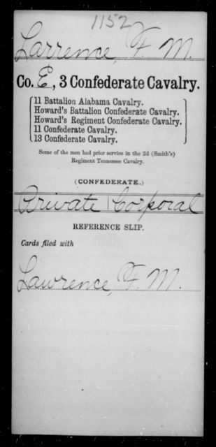 Larrence, F M - Age [Blank], Year: [Blank] - Third Confederate Cavalry, I-N - Raised Directly by the Confederate Government