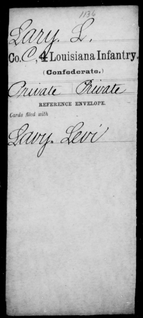 Lary, L - Age [Blank], Year: [Blank] - Third Regiment, Third Brigade, First Division, Militia - Louisiana