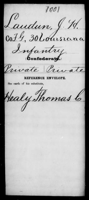 Laudun, J H - Age [Blank], Year: [Blank] - Thirtieth Infantry, K- M - Louisiana
