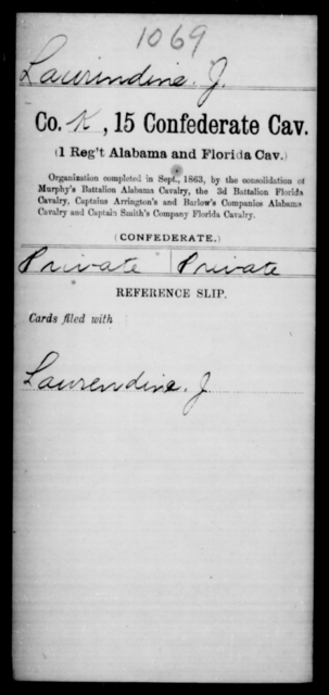 Laurindine, J - Age [Blank], Year: 1863 - Fifteenth Confederate Cavalry, He-Mi - Raised Directly by the Confederate Government
