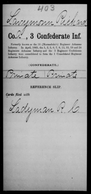 Lavymonn, Richard - Age [Blank], Year: [Blank] - Third Confederate Infantry, E-W - Raised Directly by the Confederate Government