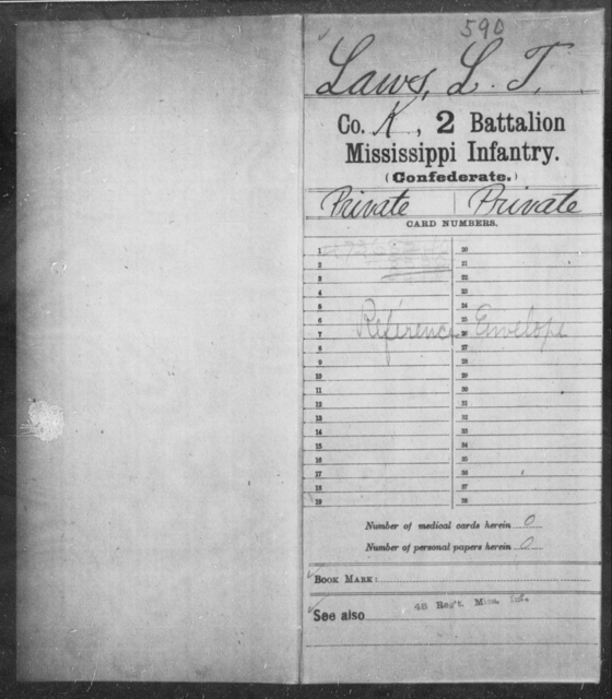 Lawes, L T - Age: [Blank], Year: [BLANK] - Mississippi Second Battalion, Infantry, A-P
