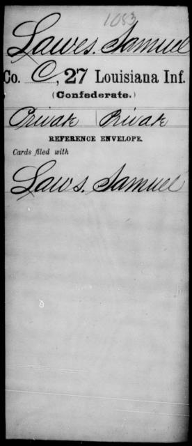 Lawes, Samuel - Age [Blank], Year: [Blank] - Twenty-seventh Infantry, Hu - L - Louisiana