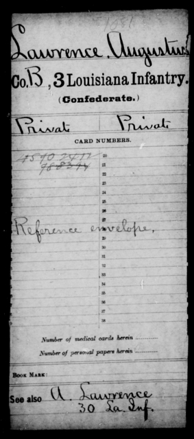 Lawrence, Augustus - Age [Blank], Year: [Blank] - Roll Military Unit, L - Mo - Louisiana