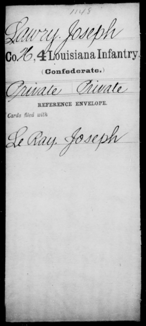 Lawry, Joseph - Age [Blank], Year: [Blank] - Third Regiment, Third Brigade, First Division, Militia - Louisiana