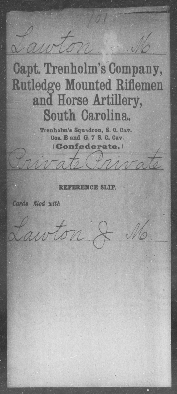 Lawton, M - Age: [Blank], Year: [BLANK] - South Carolina Capt Kirk's Co, Partisan Rangers H-Y