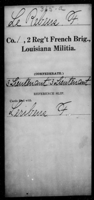 Le Rebeus, F - Age [Blank], Year: [Blank] - Second Regiment, French Brigade, Militia - Louisiana