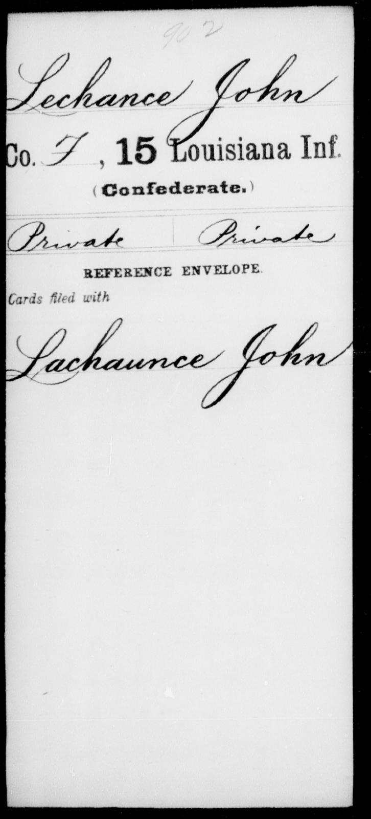 Lechance, John - Age [Blank], Year: [Blank] - Fifteenth Infantry, Hu - L - Louisiana