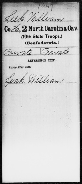 Leek, William - Second Cavalry (19th State Troops)
