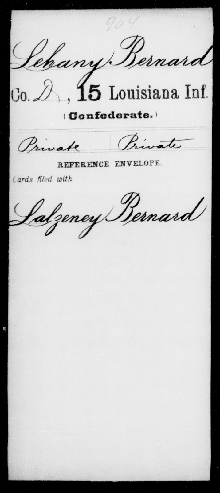 Lehany, Bernard - Age [Blank], Year: [Blank] - Fifteenth Infantry, Hu - L - Louisiana