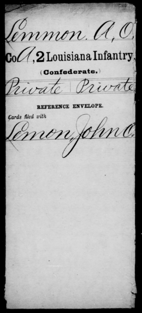 Lemmon, A O - Age [Blank], Year: [Blank] - Second Infantry, Jo - L - Louisiana