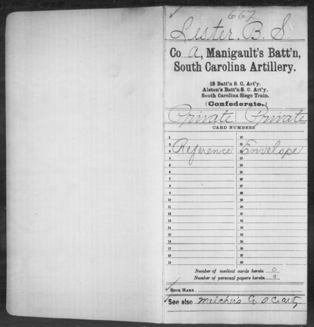 Lester, B S - Age: [Blank], Year: [BLANK] - South Carolina Manigault's Battalion, Artillery I-Me