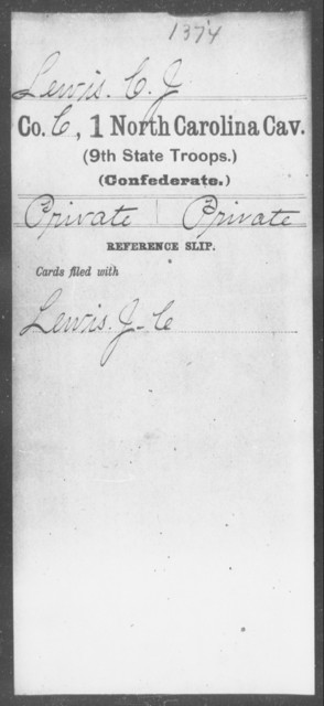 Lewis, C J - First Cavalry (Ninth State Troops)