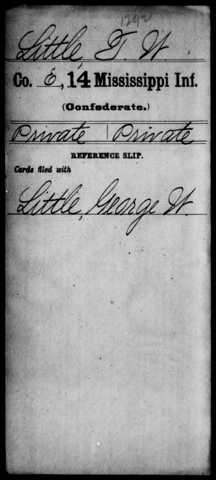 Little, T W - Age: [Blank], Year: [BLANK] - Mississippi Fourteenth Infantry, I-Ma