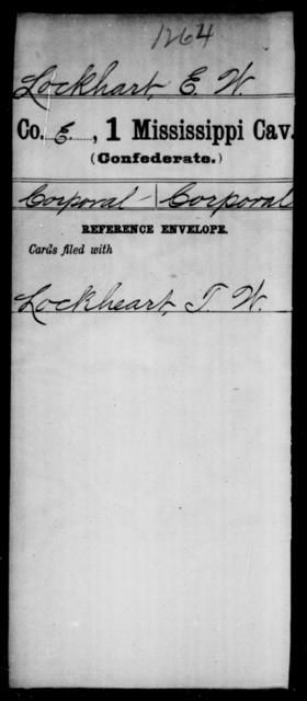 Lockhart, E W - Age: [Blank], Year: [BLANK] - Mississippi First Cavalry, K-R