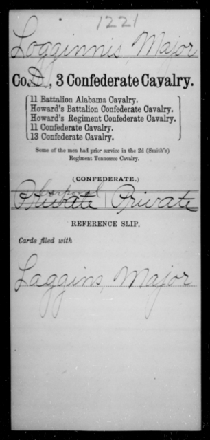 Loggins, Major - Age [Blank], Year: [Blank] - Third Confederate Cavalry, I-N - Raised Directly by the Confederate Government