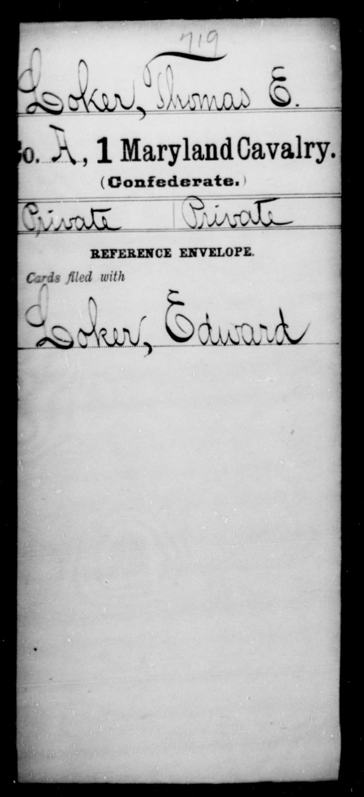 Loker, Thomas E - Age [Blank], Year: [Blank] - First Cavalry, Lo-Q - Maryland