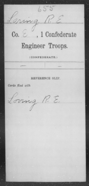 Loring, R E - Age [Blank], Year: [Blank] - First Confederate Engineer Troops, G-L - Raised Directly by the Confederate Government