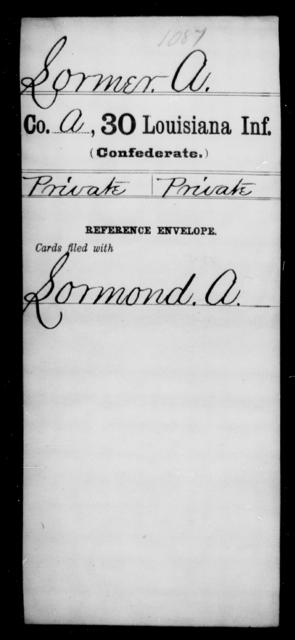 Lormer, A - Age [Blank], Year: [Blank] - Thirtieth Infantry, K- M - Louisiana