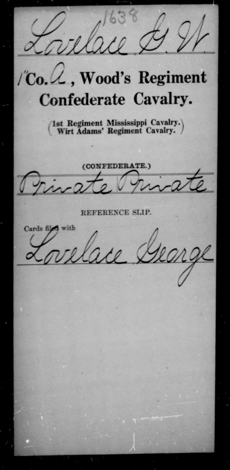 Lovelace, G W - Age [Blank], Year: [Blank] - Wood's Regiment