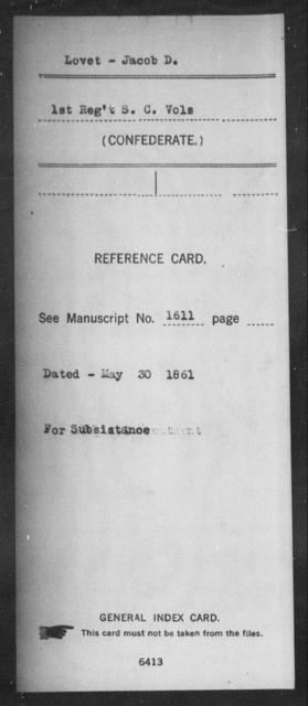 Lovet, Jacob D - Age: [Blank], Year: [BLANK] - South Carolina First Artillery L-Me