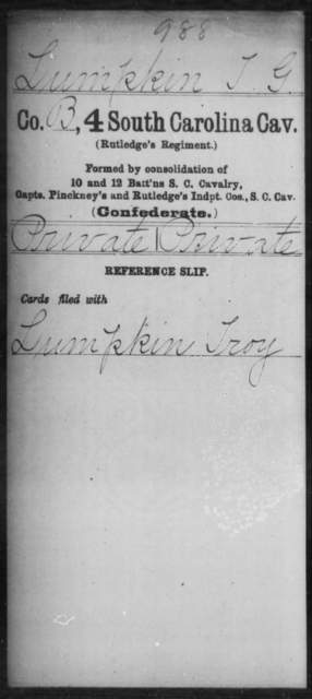 Lumpkin, T G - Age: [Blank], Year: [BLANK] - South Carolina Fourth Cavalry H-L