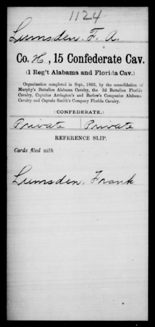 Lumsden, F A - Age [Blank], Year: [Blank] - Fifteenth Confederate Cavalry, He-Mi - Raised Directly by the Confederate Government