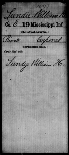 Lundie, William H - Age: [Blank], Year: [BLANK] - Mississippi Nineteenth Infantry, K-Ma