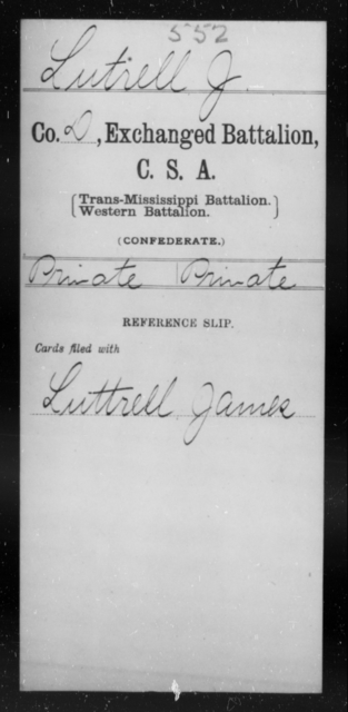 Lutrell, J - Age [Blank], Year: 1864 - Gillum's Regiment AND Lt. Haskell's Co., Infantry AND Jackson's Co., CSA AND Capt. McDaniel's Co., Secret Service AND Stirman's Regiment, Sharp Shooters AND Tucker's Regiment, Confederate Infantry, A-D - Raised Directly by the Confederate Government