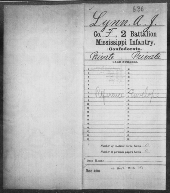 Lynn, A J - Age: [Blank], Year: [BLANK] - Mississippi Second Battalion, Infantry, A-P