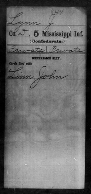Lynn, J - Age: [Blank], Year: [BLANK] - Mississippi Fifth Infantry, Ho-Mc