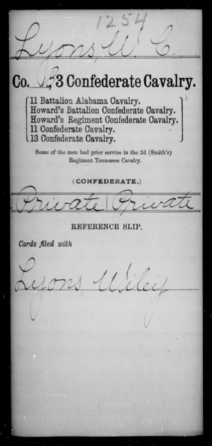 Lyons, W C - Age [Blank], Year: [Blank] - Third Confederate Cavalry, I-N - Raised Directly by the Confederate Government