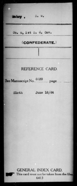Mabry, S W - Age: [Blank], Year: [BLANK] - South Carolina First Cavalry M-N