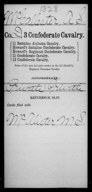 MacCallester, A S - Age [Blank], Year: 1863 - Third Confederate Cavalry, I-N - Raised Directly by the Confederate Government