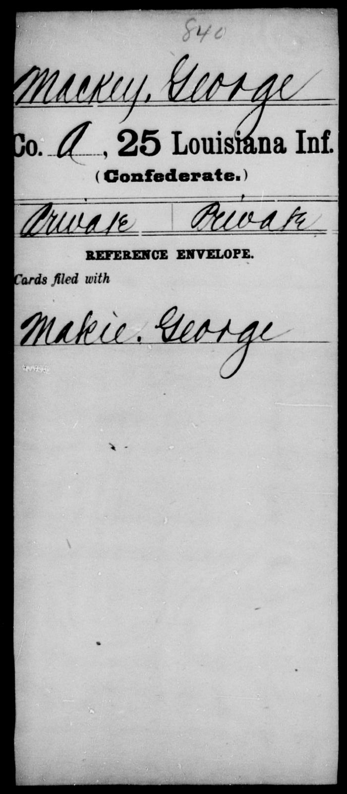 Mackey, George - Age [Blank], Year: [Blank] - Twenty-fifth Infantry, M - Q - Louisiana