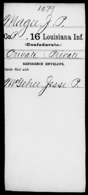 Magee, J P - Age [Blank], Year: [Blank] - Sixteenth Infantry, Ki - Mi - Louisiana