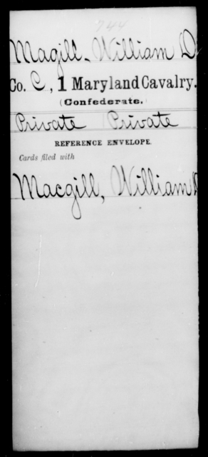 Magill, William D - Age [Blank], Year: [Blank] - First Cavalry, Lo-Q - Maryland