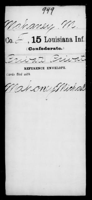 Mahaney, M - Age [Blank], Year: [Blank] - Fifteenth Infantry, M - Ni - Louisiana