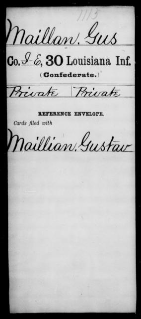 Maillan, Gus - Age [Blank], Year: [Blank] - Thirtieth Infantry, K- M - Louisiana