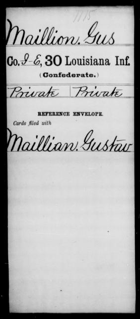 Maillion, Gus - Age [Blank], Year: [Blank] - Thirtieth Infantry, K- M - Louisiana