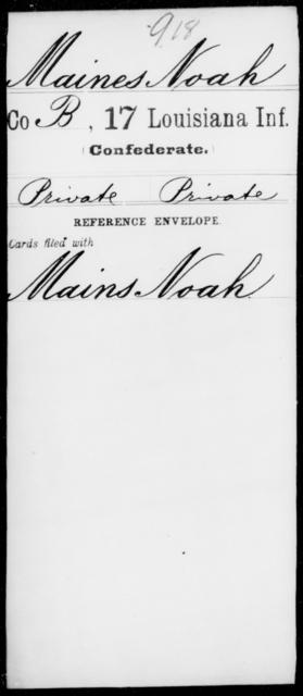 Maines, Noah - Age [Blank], Year: [Blank] - Seventeenth Infantry, Jo - Me - Louisiana