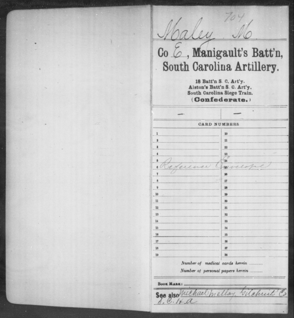 Maley, M - Age: [Blank], Year: [BLANK] - South Carolina Manigault's Battalion, Artillery I-Me