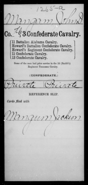 Mangam, John D - Age [Blank], Year: 1863 - Third Confederate Cavalry, I-N - Raised Directly by the Confederate Government