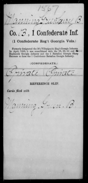 Manning, Greenbury B - Age [Blank], Year: [Blank] - First Confederate Infantry, L-M - Raised Directly by the Confederate Government