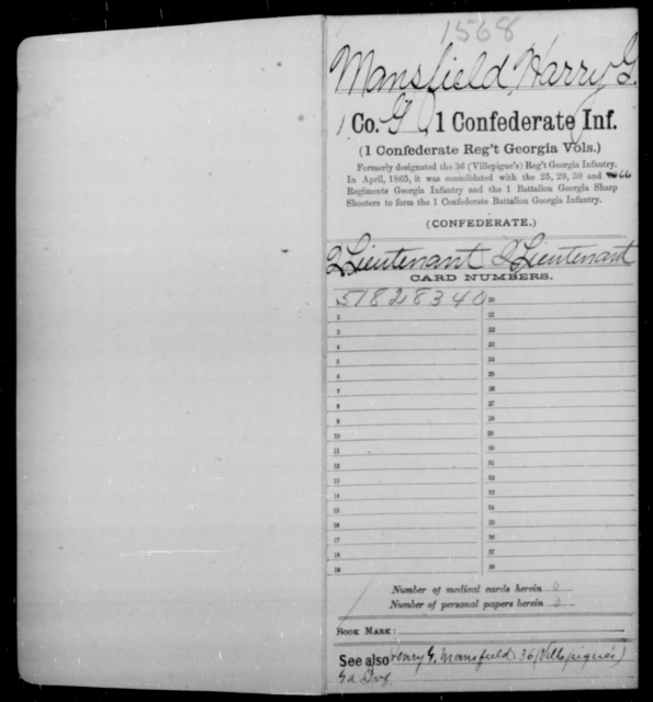 Mansfield, Harry G - Age [Blank], Year: 1862 - First Confederate Infantry, L-M - Raised Directly by the Confederate Government