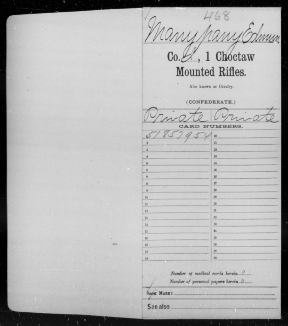 Manypany, Edmum - Age [Blank], Year: 1862 - First Choctaw and Chickasaw Mounted Rifles, A-G - Raised Directly by the Confederate Government