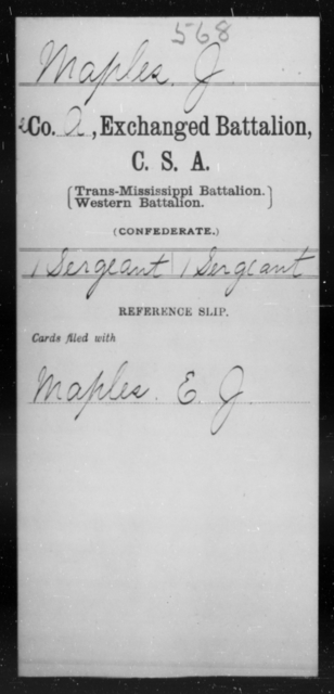Maples, J - Age [Blank], Year: [Blank] - Gillum's Regiment AND Lt. Haskell's Co., Infantry AND Jackson's Co., CSA AND Capt. McDaniel's Co., Secret Service AND Stirman's Regiment, Sharp Shooters AND Tucker's Regiment, Confederate Infantry, A-D - Raised Directly by the Confederate Government