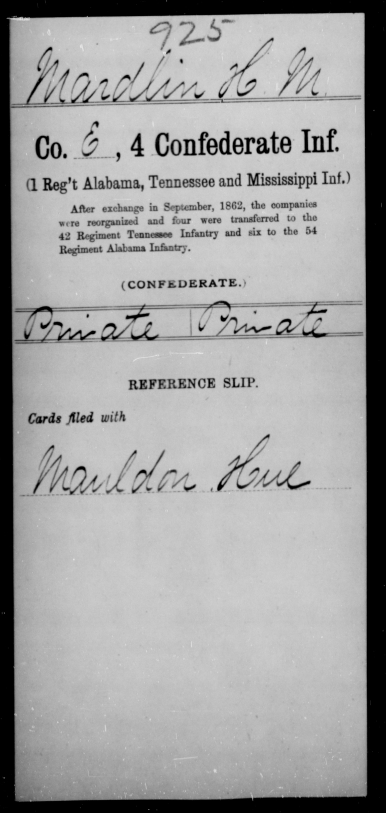 Mardlin, H M - Age [Blank], Year: [Blank] - Fourth Confederate Infantry, G-N - Raised Directly by the Confederate Government